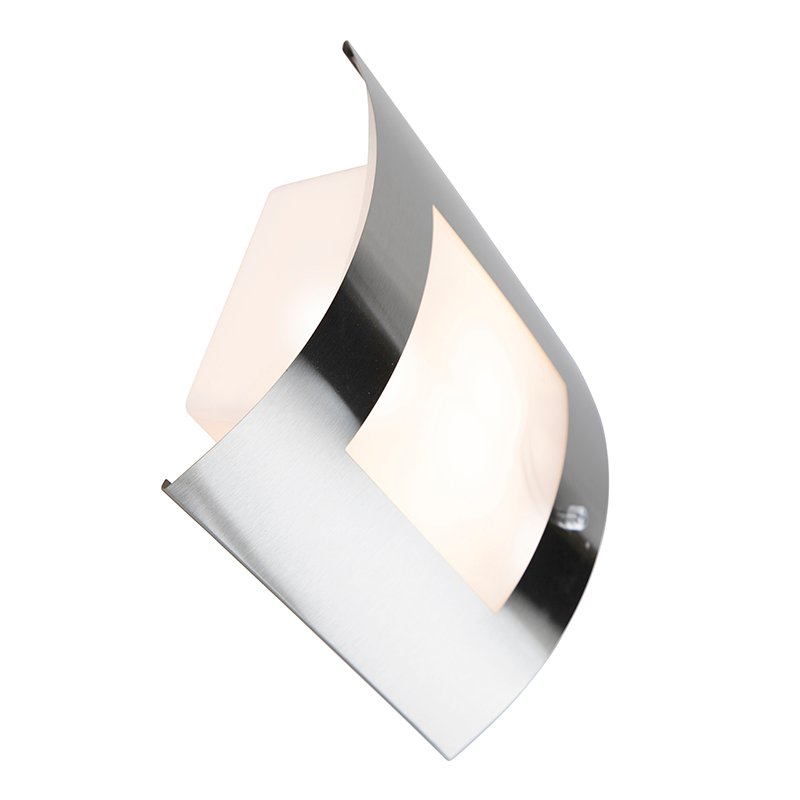 Modern Wall Lamp Steel IP44 with Twilight Switch - Emmerald 1
