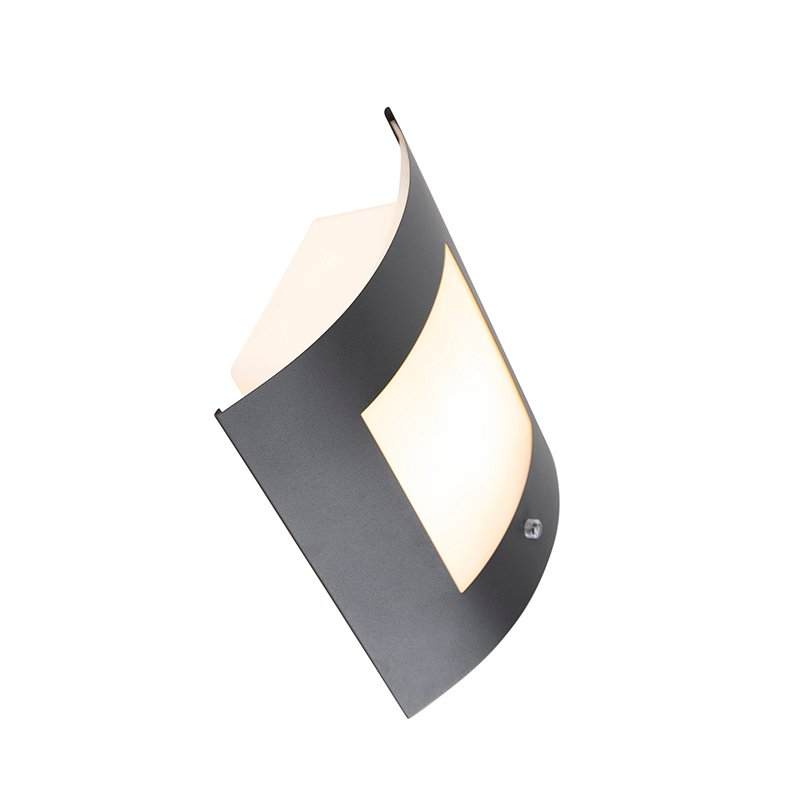 Modern Wall Lamp Dark Grey IP44 with Twilight Switch - Emmerald 1