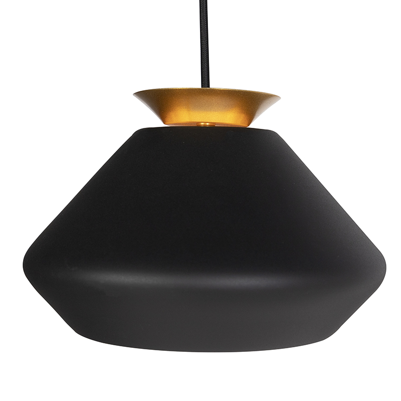 Lampe suspendue moderne à 3 lumières noire avec faisceau doré - Mia