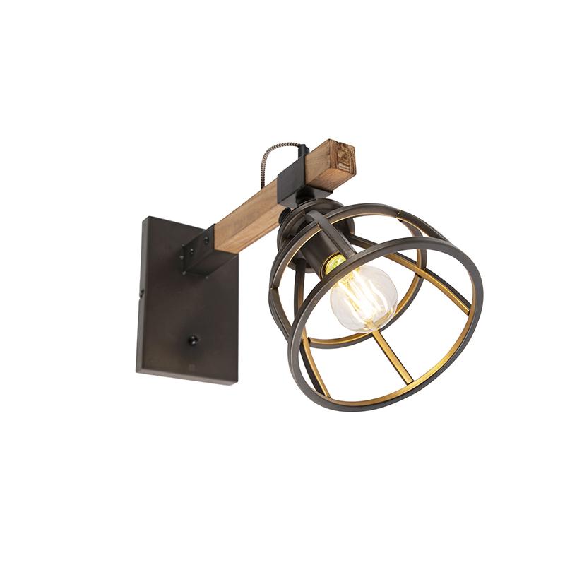 Applique industrielle noire avec bois réglable - Arthur
