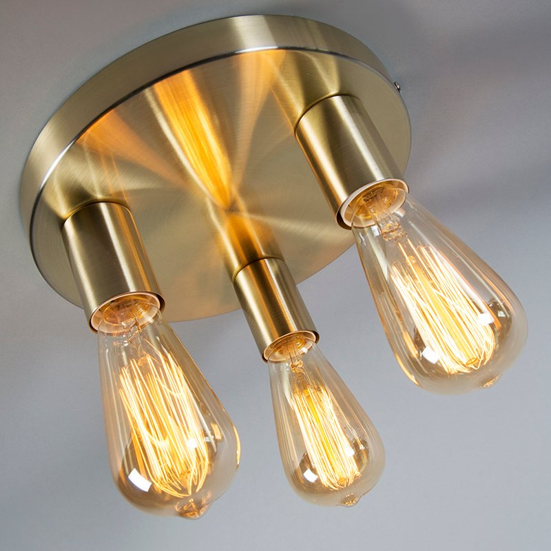 Art Deco Ceiling Lamp Gold - Facil 3