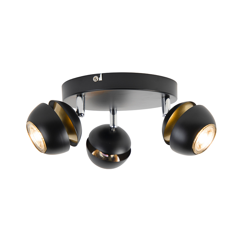 Modern Ceiling Spotlight 3 Black with Gold - Buell Deluxe