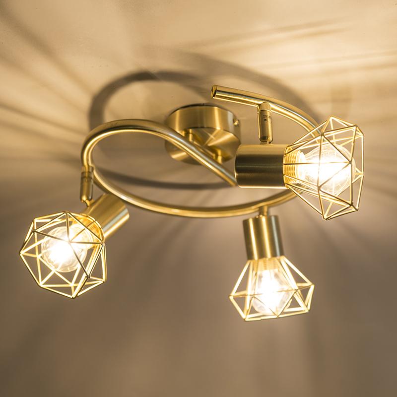 Art Deco Ceiling Spotlight Brass - Mosh 3