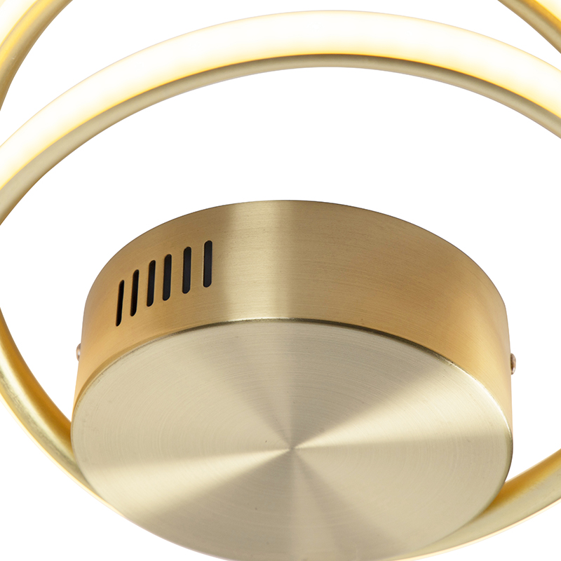 Design ceiling lamp gold incl. LED 3-step dimmable - Rowan
