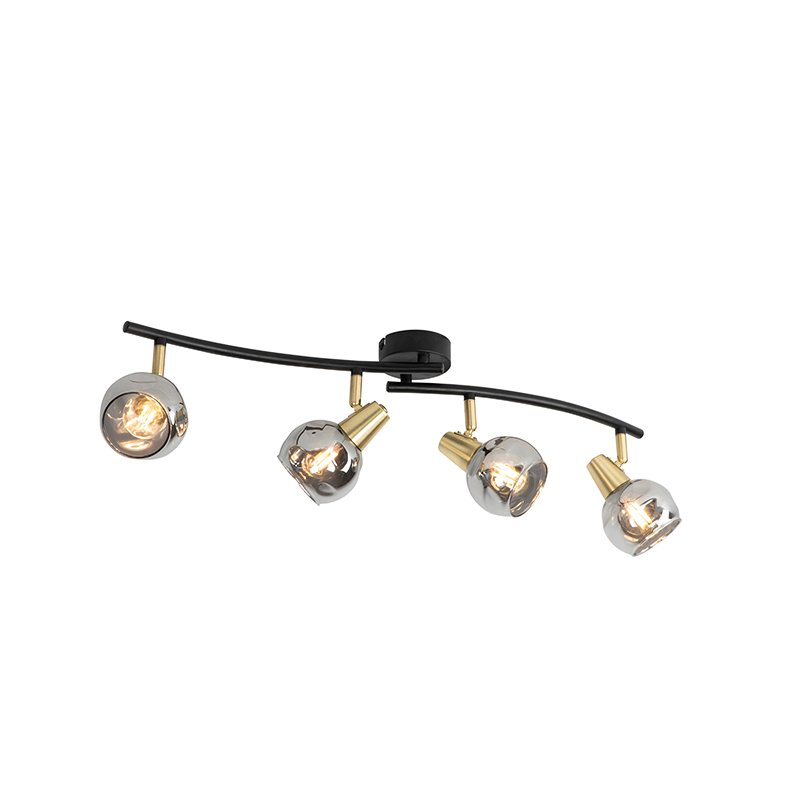 Art Deco ceiling lamp gold with smoke glass 4-light - Vidro