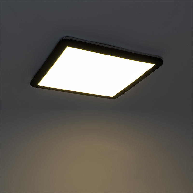 Ceiling lamp black 40 cm incl. LED 3-step dimmable IP44 - Steve