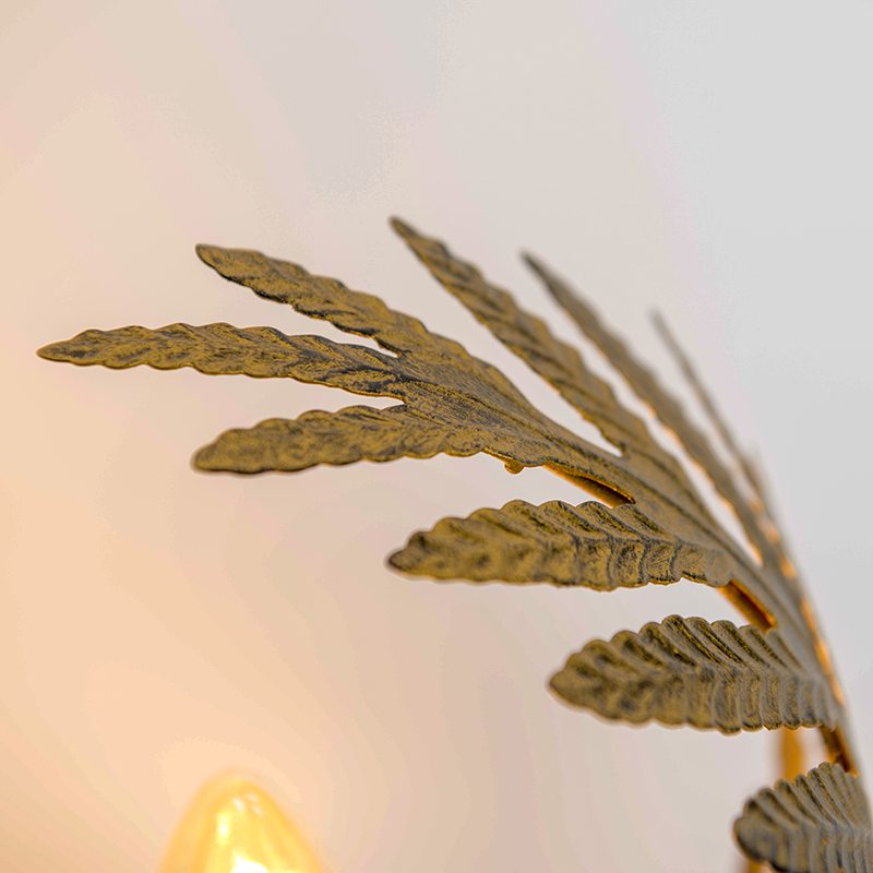 Vintage Table Lamp Small Leaf Gold