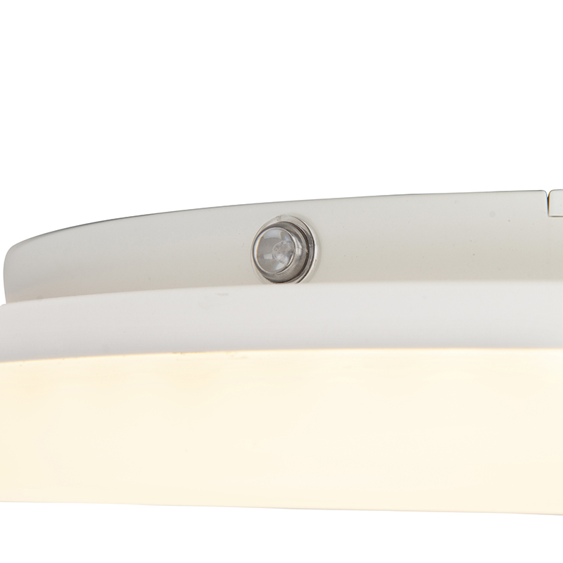 Wall lamp white round incl. LED, light sensor, house number - Plater