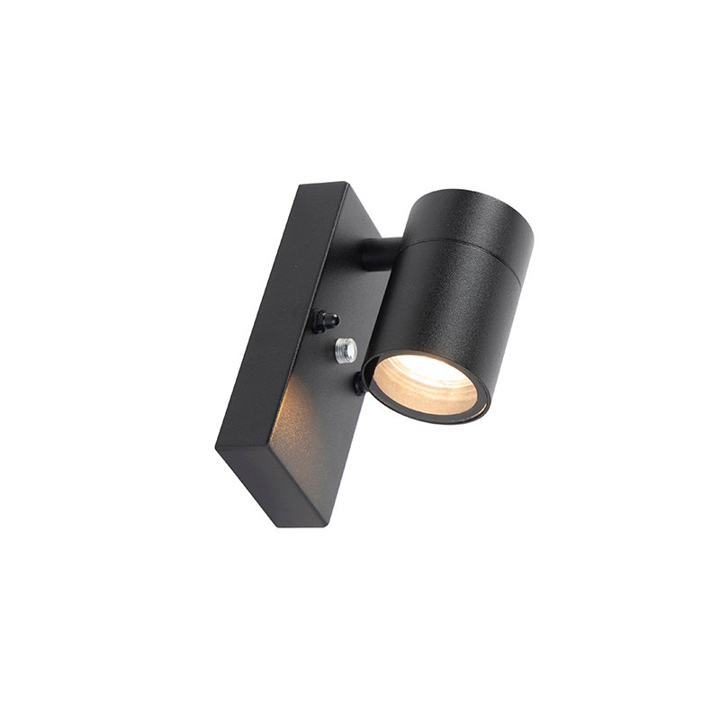 Exterior wall light black with light-dark sensor IP44 - Solo