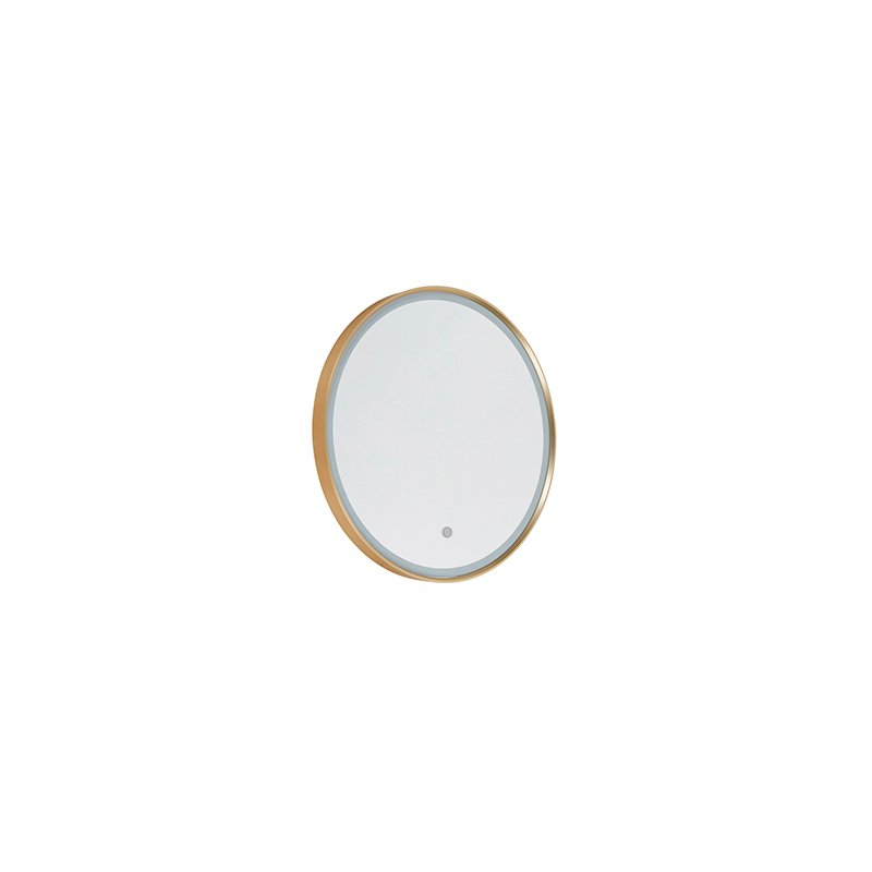 Round bathroom mirror gold incl. LED with touch dimmer - Miral