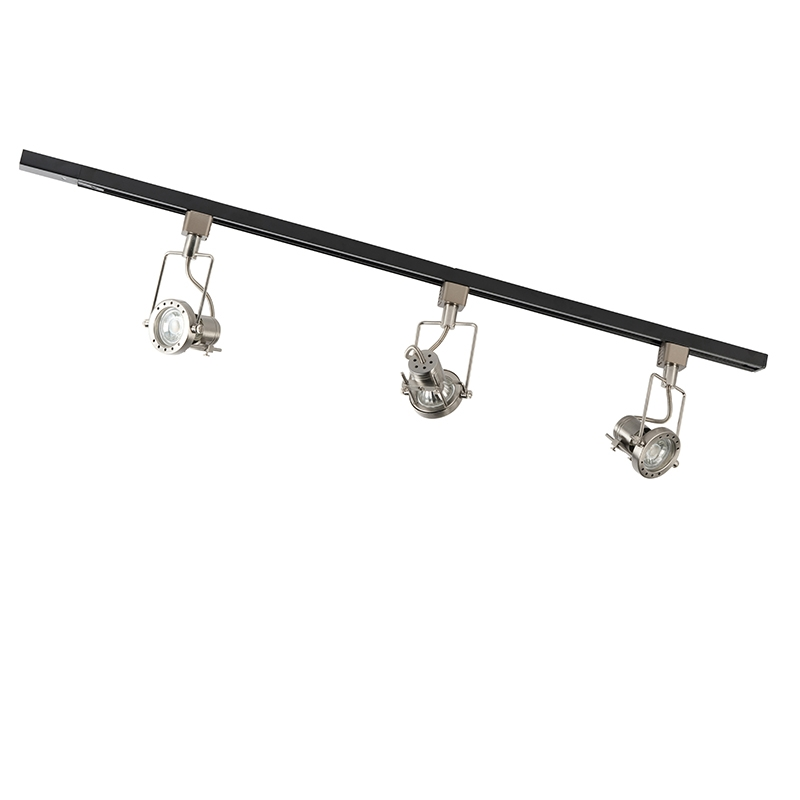 Rail system with 3 spots 1-phase black with steel - Suplux
