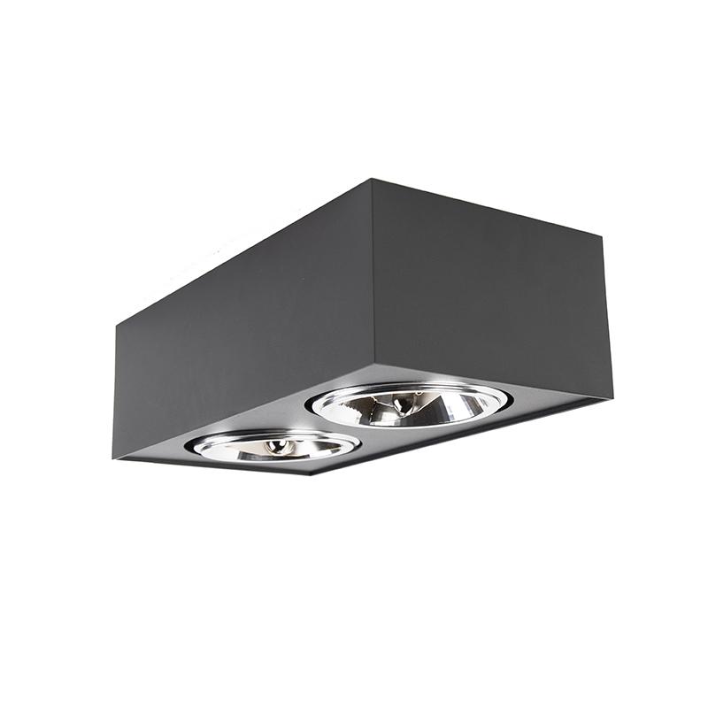 Spot design carré 2 lumières, y compris G9 noir - Kaya