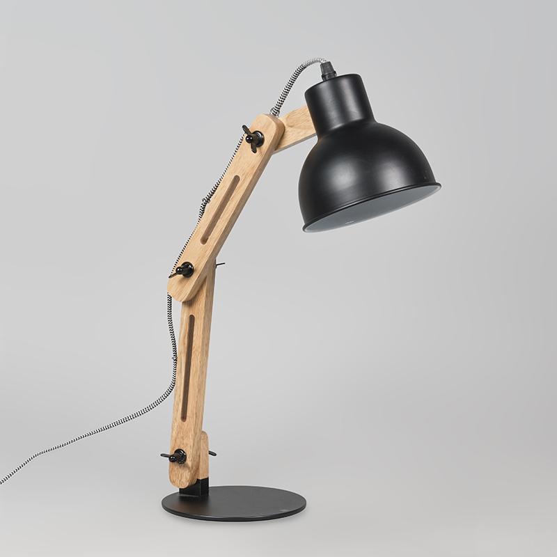Lampe de table industrielle noire avec bois - Woodi
