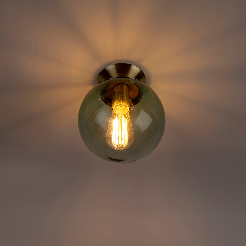 Art Deco Ceiling Lamp Brass with Green Glass Shade - Pallon