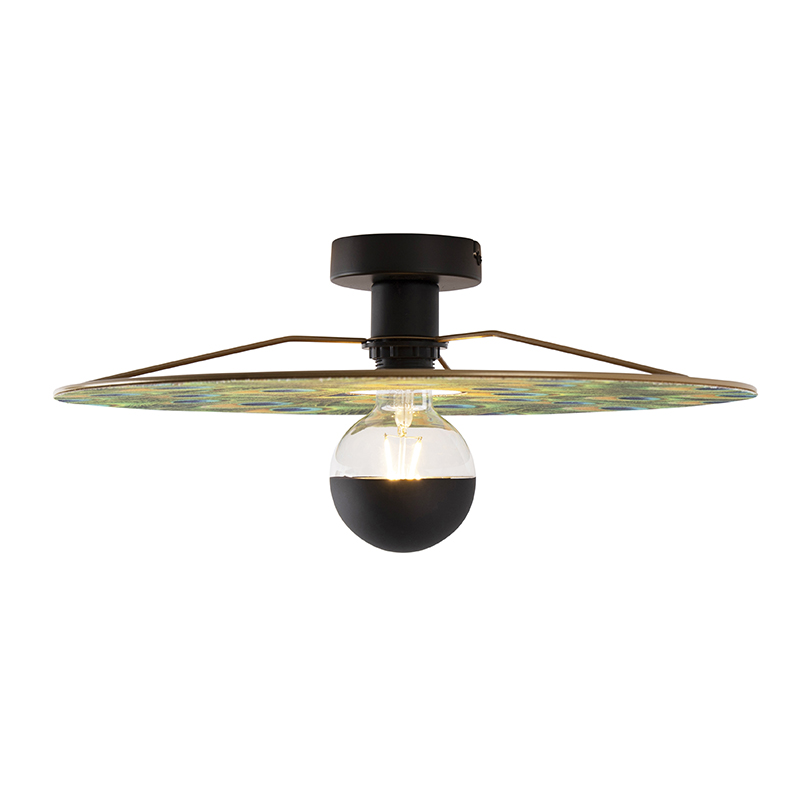 Ceiling lamp black flat shade peacock design 45 cm - Combi