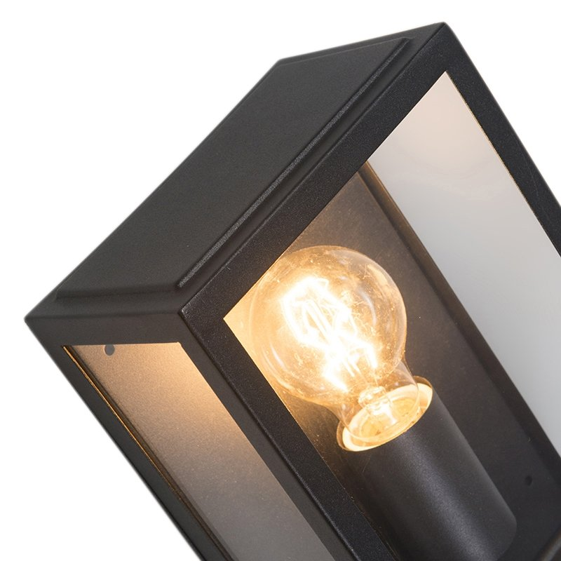 Industrial exterior wall lamp black with glass IP44 - Rotterdam 2