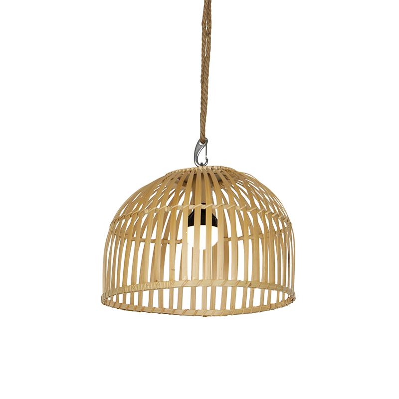 Vloerlamp zwart en bamboe incl. LED oplaadbaar RGBW - Mart Maurice