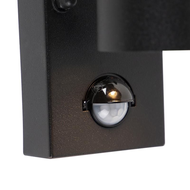 Exterior wall light black with motion sensor IP44 - Duo