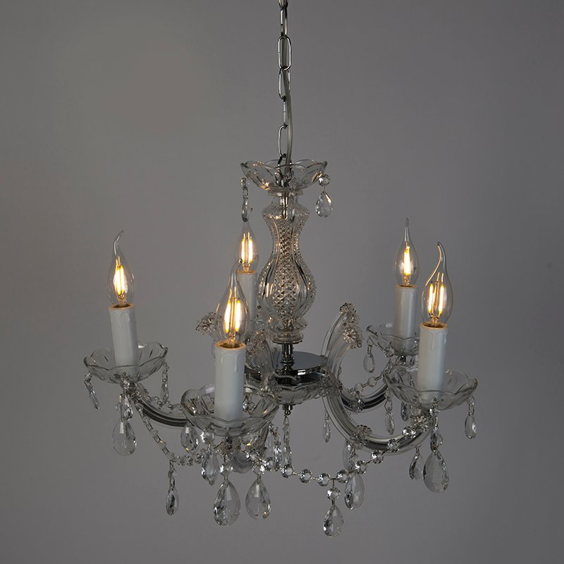 Chandelier transparent with chrome 5 lights - Marie Theresa
