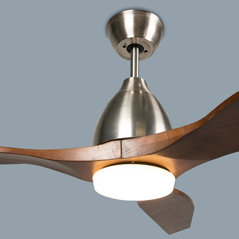 Wood ceiling fan incl. LED with remote control - Levant 52