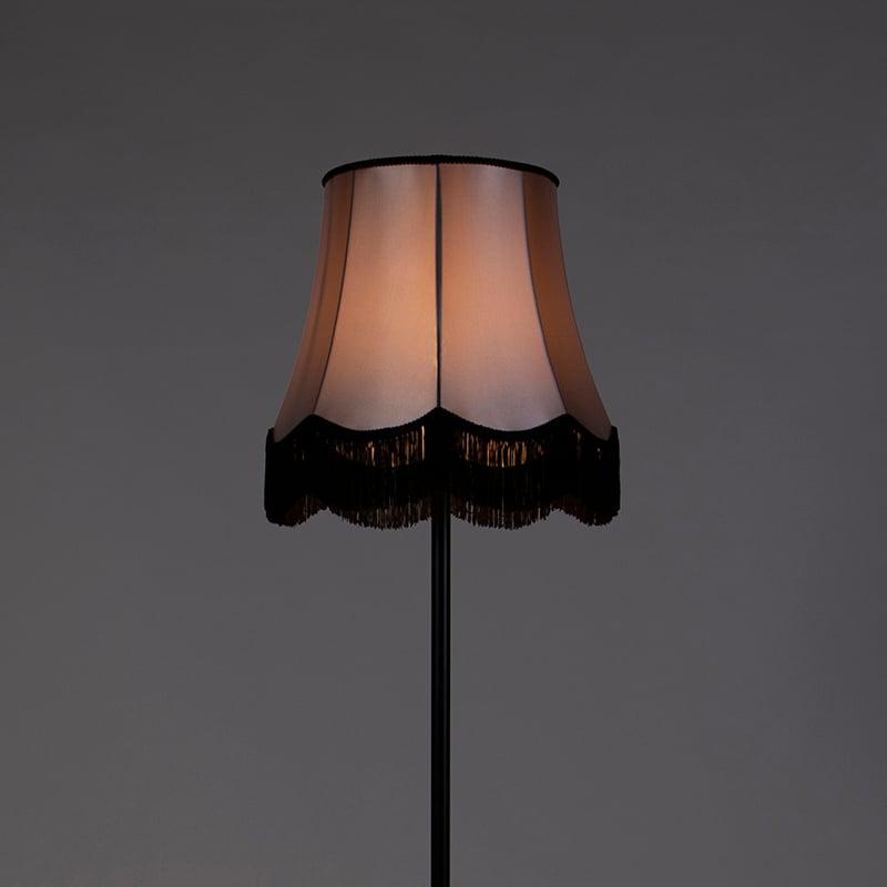 Retro Floor Lamp Black with 45cm Grey Granny Black Frills Shade - Simplo