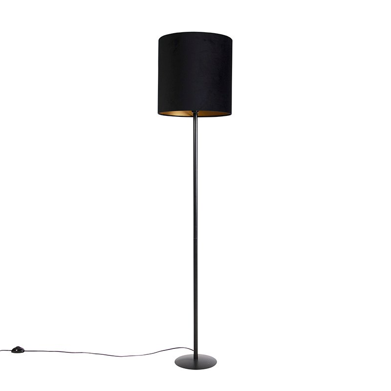 Black floor lamp with velor shade black with gold 40 cm - Simplo
