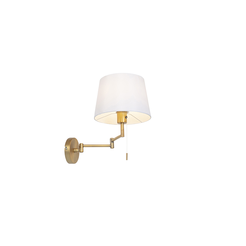Wall lamp bronze with white shade and adjustable arm - Ladas