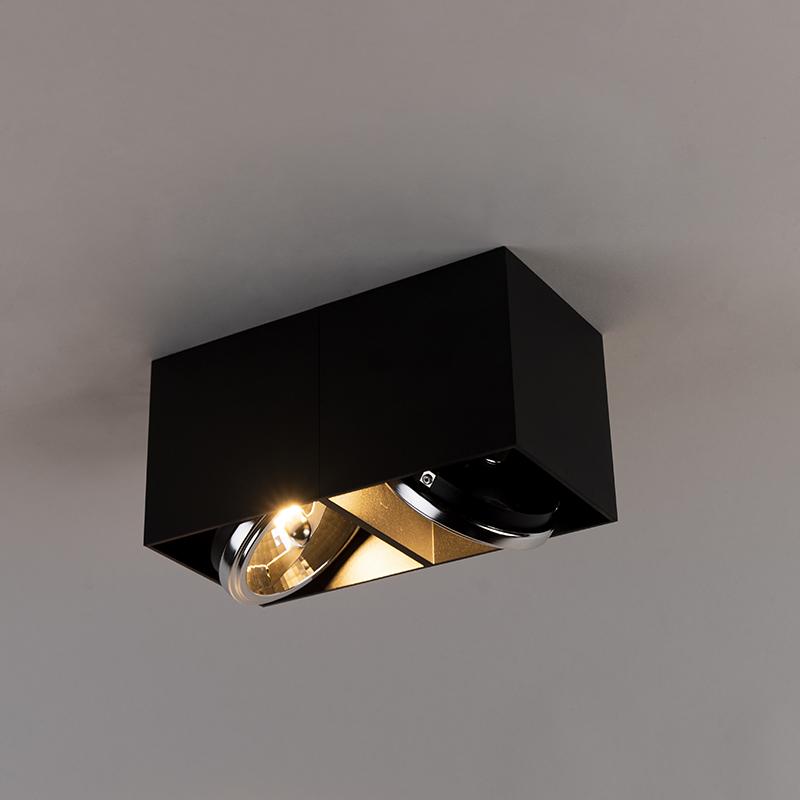 Spot design rectangulaire à 2 ampoules noir avec 2 x G9 - Boîte