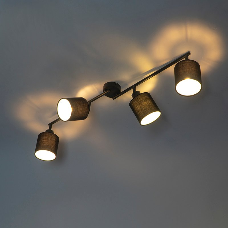 Modern ceiling lamp black 89.5 cm 4-light adjustable - Hetta