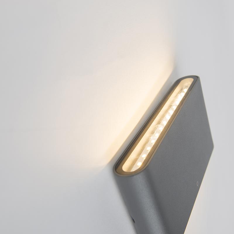 Aplique moderno gris oscuro 17.5cm LED IP65 - BATT