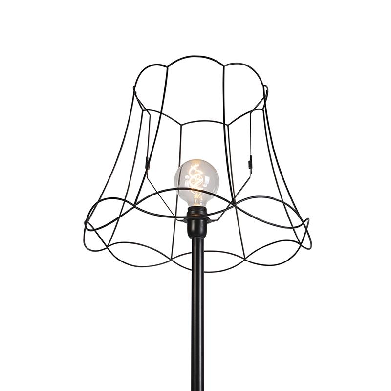 Retro Floor Lamp Black with 45cm Black Granny Shade - Simplo