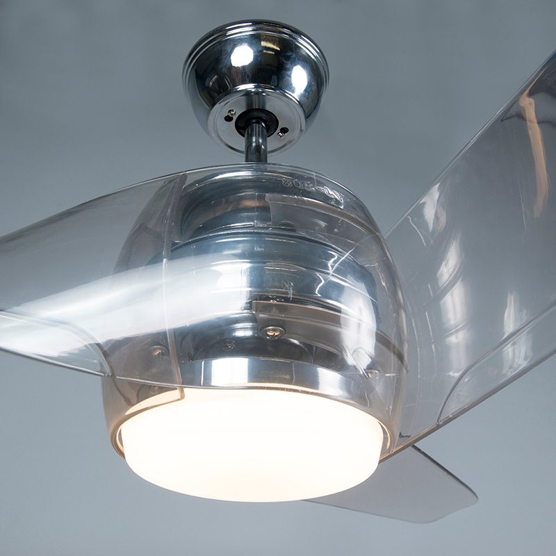 Ceiling fan chrome incl. LED with remote control - Sirocco 50