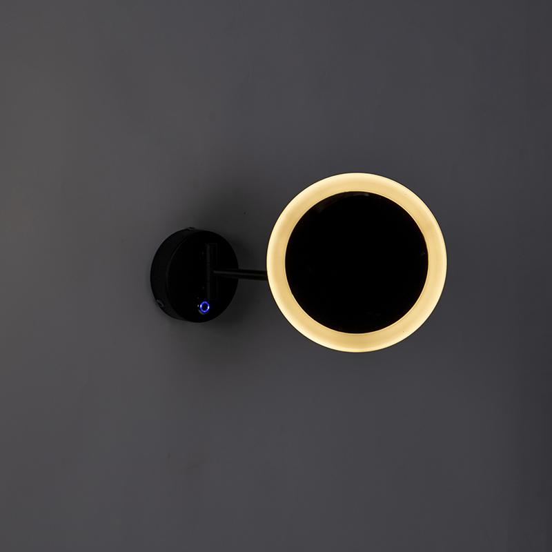 Design wall mirror black incl. LED IP44- Barba