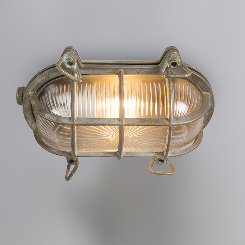 Wall and ceiling light brown 23 / 16.5 cm IP44 - Nautica 1 oval