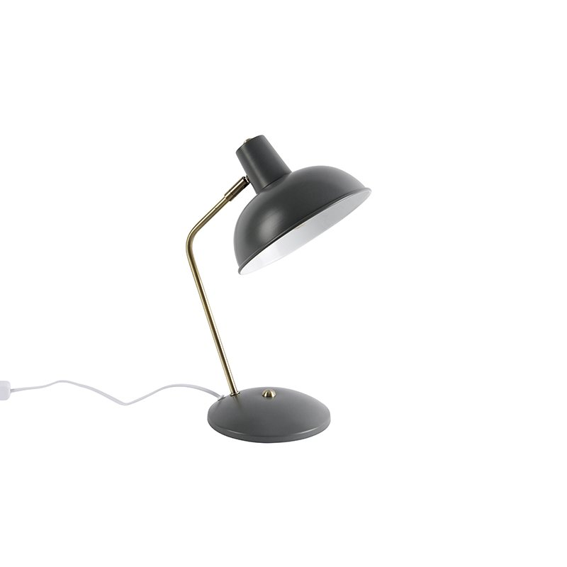 Retro table lamp taupe with bronze - Milou