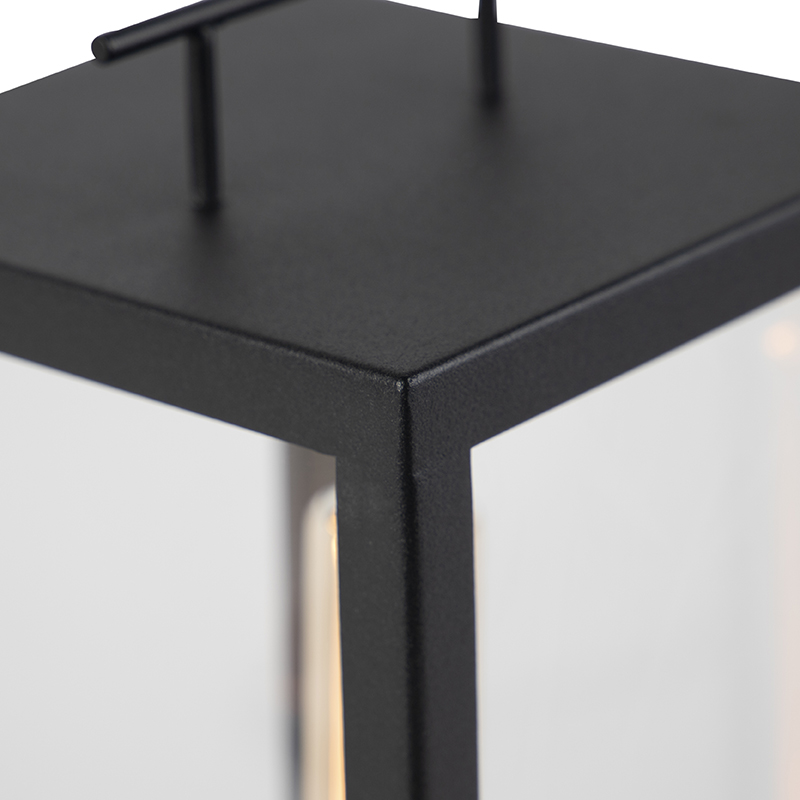 Modern Outdoor Table Lamp Black with Glass - Rotterdam