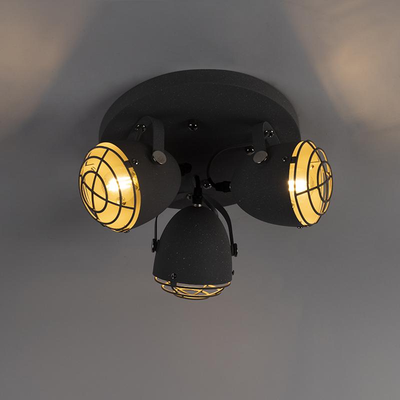 Industrial Ceiling Spotlights 3 Concrete Grey - Rebus