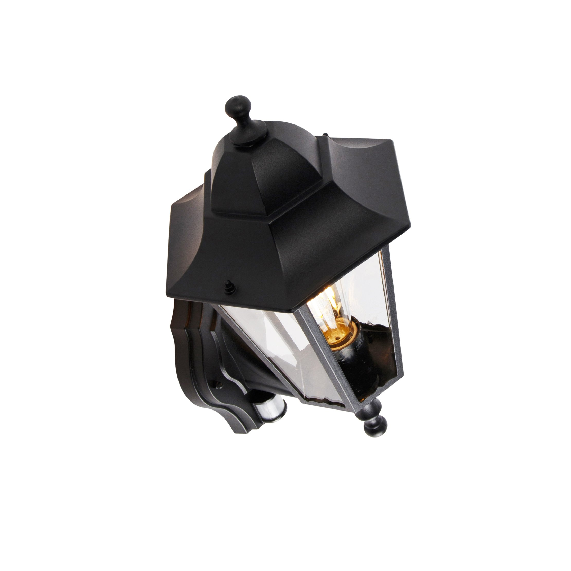 Outdoor wall lantern black with motion sensor IP44 - New Orleans