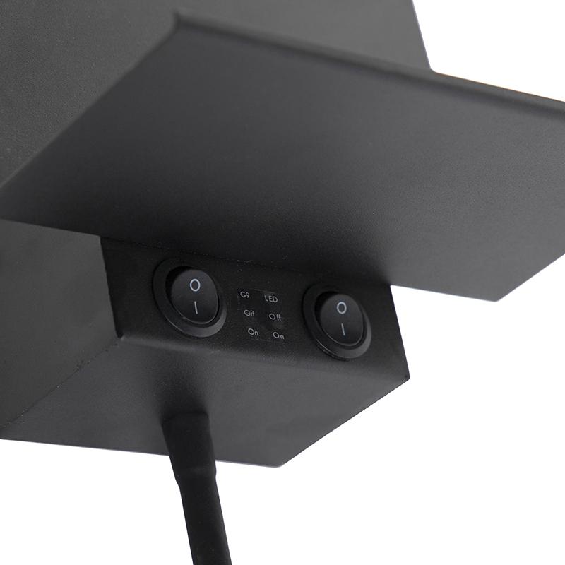 Modern wall lamp black with USB and flexarm - Flero