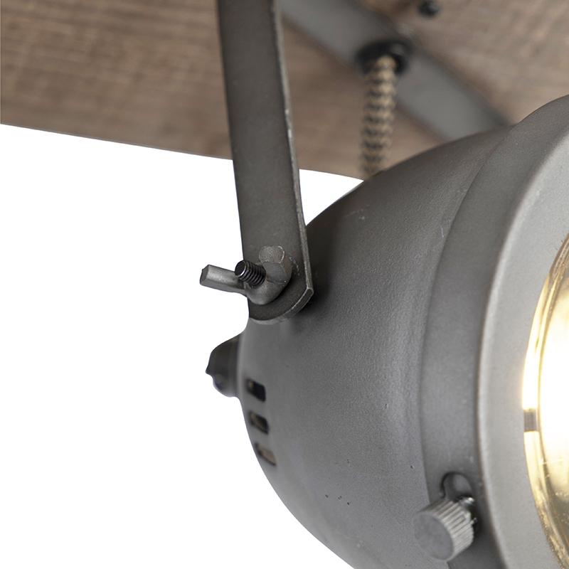 Industrial spot steel with wood tiltable 3-light - Emado