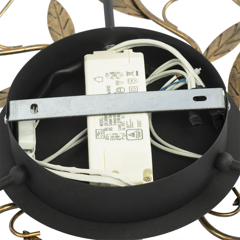 Art Deco ceiling lamp black with gold 3-step dimmable - Bota