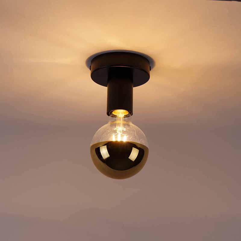 Ceiling lamp black incl. G95 gold half mirror - Facile