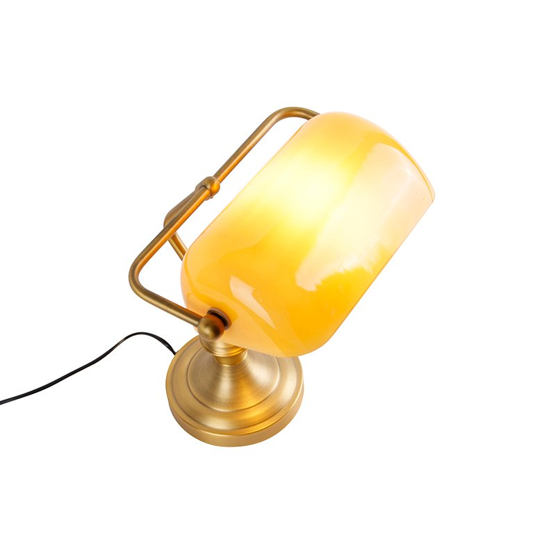 Classic notary lamp bronze with amber glass - Banker