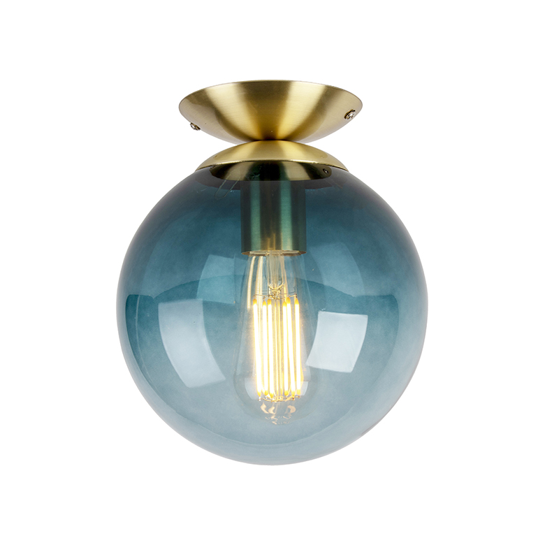 Plafón Art Dèco latón con cristal azul marino - PALLON