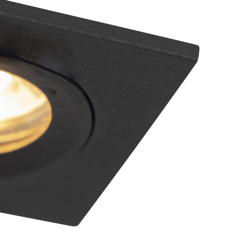 Set of 3 bathroom downlights black IP44 - Xena Square