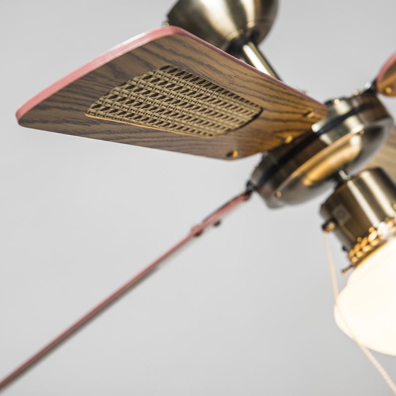 Ventilateur de plafond industriel avec lampe 100 cm bois - Vent