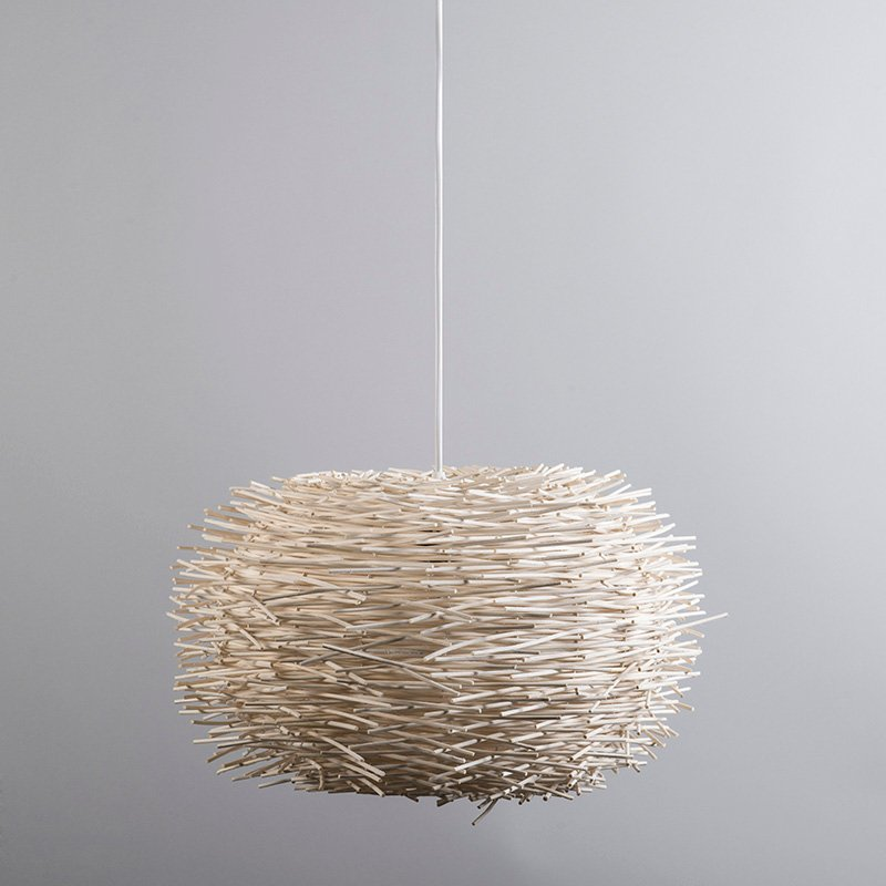 Lampe suspension rurale en rotin blanc - Hachette 45