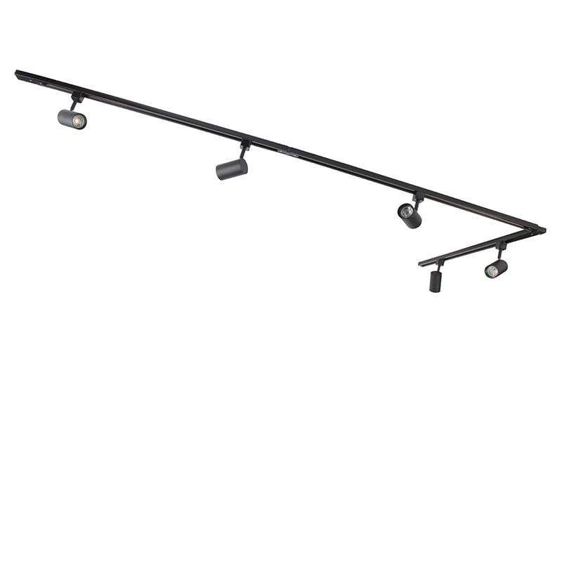 Modern Track Light 1-Phase with 5 Spotlights ÂBlack - Jeana