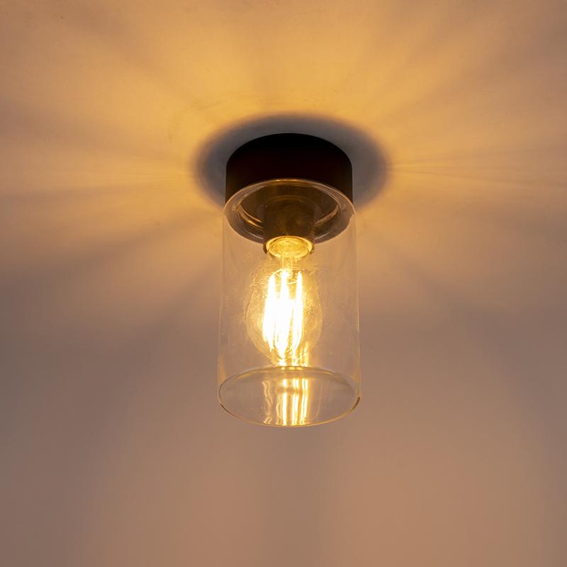Modern ceiling lamp black 22.6 cm IP44 - Jarra