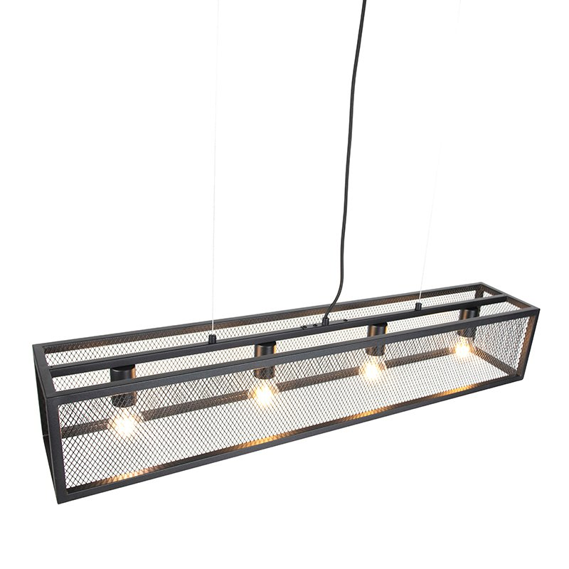 Industrial hanging lamp black with mesh 4-light - Cage